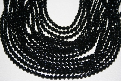 Black Onix Faceted Round Bead Strand 4mm - 96pcs