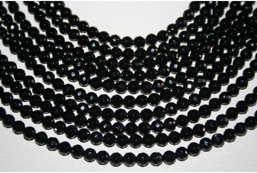 Black Onix Faceted Round Bead Strand 6mm - 64pcs