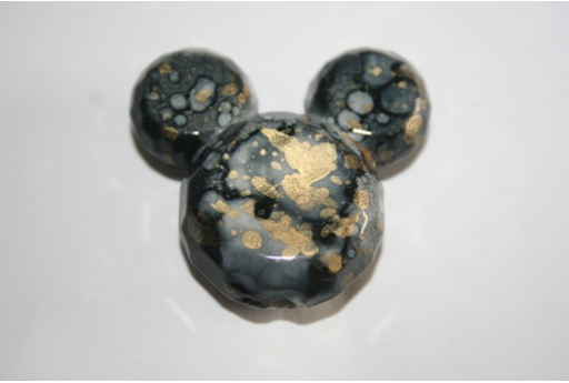 Perline Acrilico Nero Oro Mickey Mouse 34x37mm - 4Pz