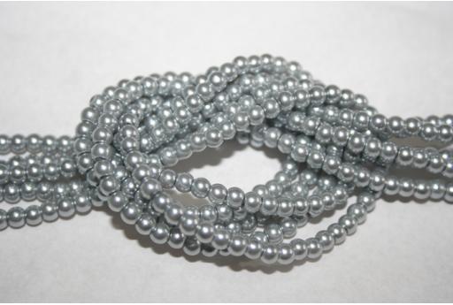 Perle Vetro Grigio Argento 4mm - Filo 100pz