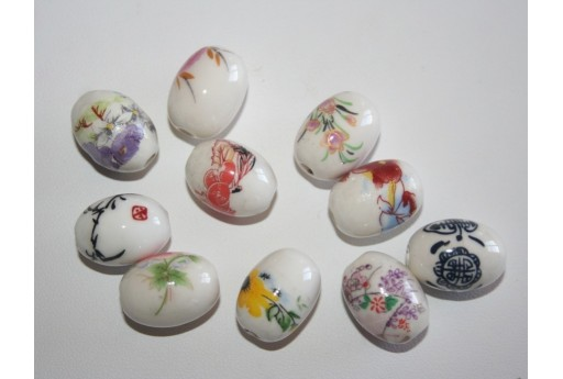 Ceramic Beads Painted Little Ovals 13x18mm - 4pz