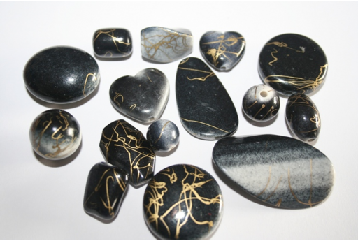Acrylic Beads Black Gold Mixed Shapes 30-10mm - 14pz