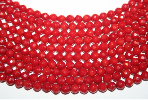 Coral Beads Faceted Sphere 6mm - 68pz