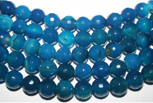 Agate Beads Blue Faceted Sphere 12mm - 32pcs