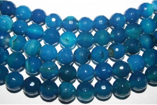 Filo 32 Pietre Agata Blue Sfera Sfaccettata 12mm AG128