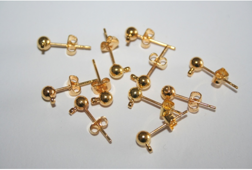 Gold Plated Ball Ear Studs 16mm - 4pcs