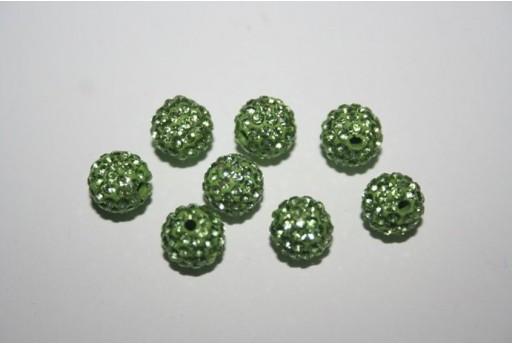 Perlina Pave' Verde Chiaro Sfera 8mm - 1pz