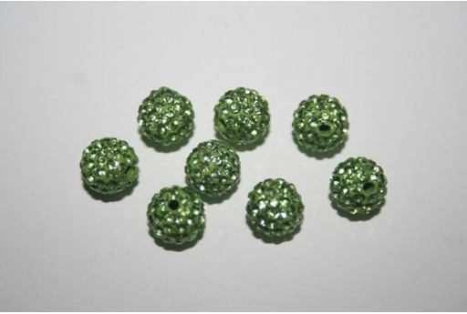Resin Beads Rhinestone Light Green Sphere 8mm - 1pz