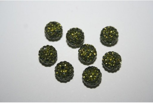 Resin Beads Rhinestone Green Sphere 8mm - 1pz