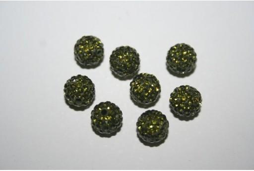 Resin Beads Rhinestone Green Sphere 8mm - 1pz