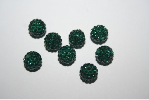 Resin Beads Rhinestone Green Emerald Sphere 8mm - 1pz