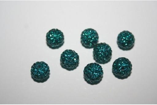 Resin Beads Rhinestone Petroleum Blue Sphere 8mm - 1pz