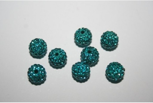 Resin Beads Rhinestone Turquoise Sphere 8mm - 1pz