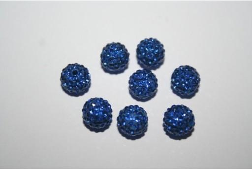 Perlina Pave' Blue Sfera 8mm - 1pz