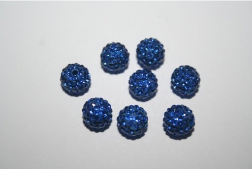 Resin Rhinestone Round Bead Blue 8mm - 1pz