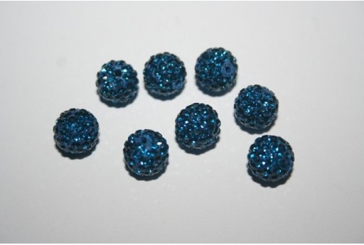 Resin Rhinestone Round Bead Dark Blue 8mm - 1pz