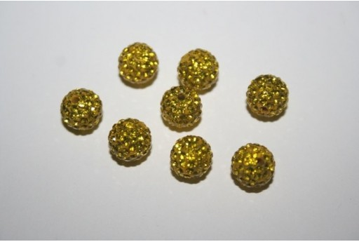Resin Beads Rhinestone Yellow Sphere 8mm - 1pz