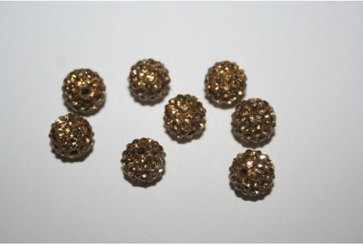 Resin Beads Rhinestone Beige Sphere 8mm - 1pz