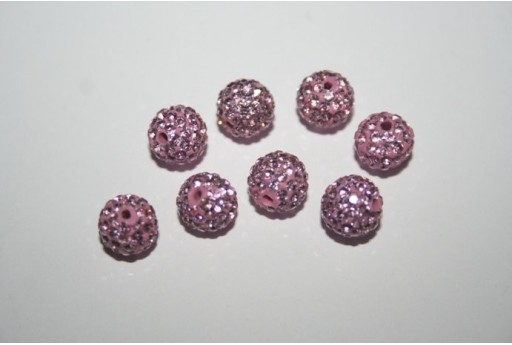 Perlina Pave' Rosa Sfera 8mm - 1pz