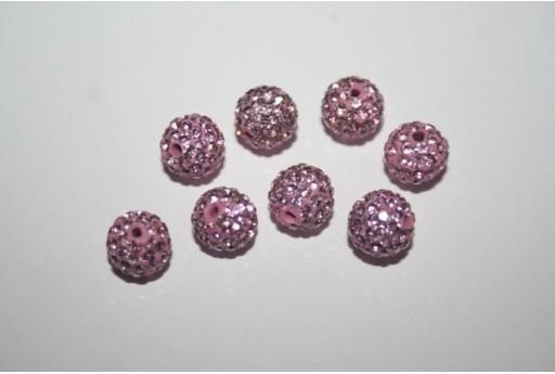 Perlina Pave' Rosa Sfera 8mm - 1pz