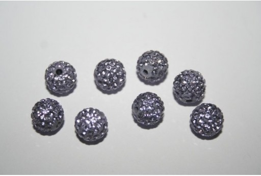 Resin Beads Rhinestone Lavender Sphere 8mm - 1pz