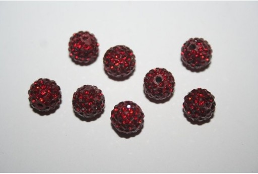Resin Beads Rhinestone Dark Red Sphere 8mm - 1pz