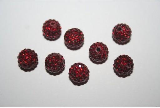 Perlina Pave' Rosso Scuro Sfera 8mm RE0827