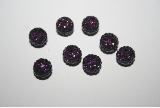 Resin Beads Rhinestone Violet Sphere 8mm - 1pz