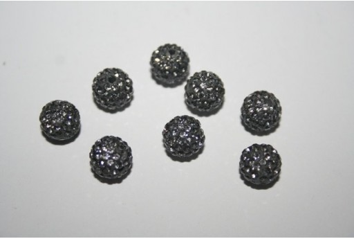 Resin Beads Rhinestone Grey Sphere 8mm - 1pz