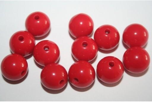 Perline Acrilico Rosso Sfera 12mm - 30pz