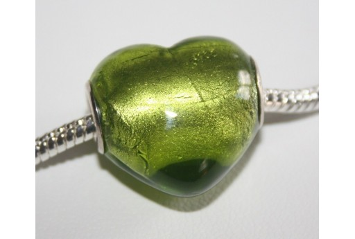 Large Hole Beads Heart Green 19x20mm PAN5
