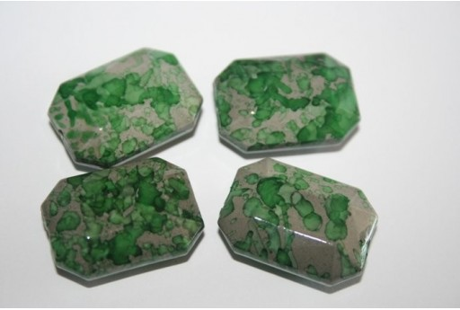Acrylic Beads Green Rectangle 23x17mm - 10pz