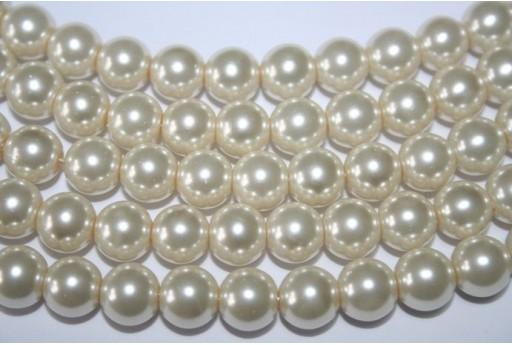 Perline Vetro Crema Sfera 10mm - Filo 44pz