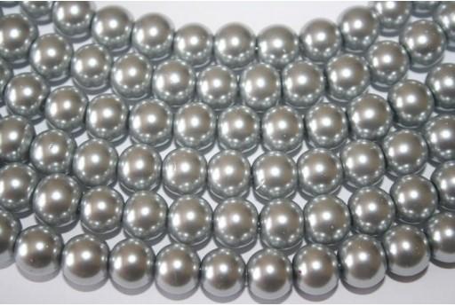 Perline Vetro Grigio Argento Sfera 10mm - Filo 44pz