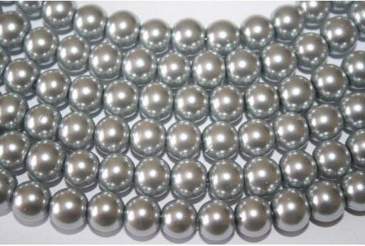 Glass Beads Silver Grey Sphere 10mm - Filo 44pz