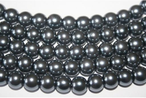 Perline Vetro Grigio Scuro Sfera 10mm - Filo 44pz