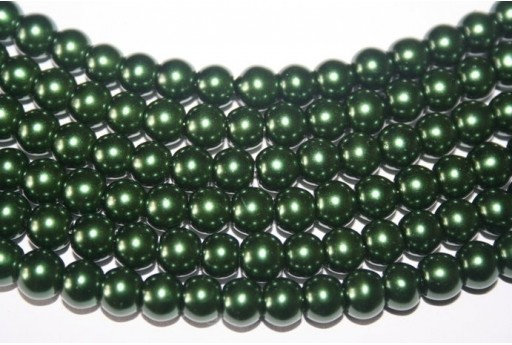 Perline Vetro Verde Scuro Sfera 8mm - Filo 52pz