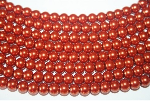 Glass Beads Brick Red Sphere 6mm - Filo 68pz