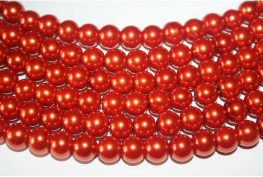 Glass Beads Brick Red Sphere 8mm - Filo 52pz