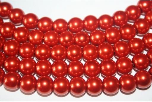 Perline Vetro Mattone Sfera 10mm - Filo 44pz