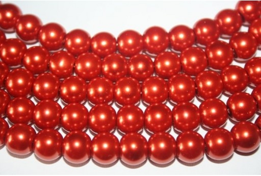 Glass Beads Brick Red Sphere 10mm - Filo 44pz