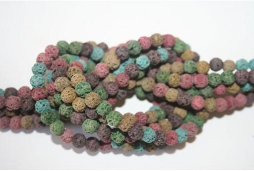 Filo Pietre Lava Multicolor Tondo 6mm - 64pz