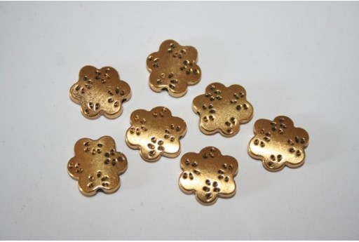 Antique Gold Tibetan Flat Flower Beads 13,5x13mm - 4pcs