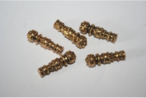 Tubi Argento Tibetano Colore Oro 22,5x7mm - 4pz