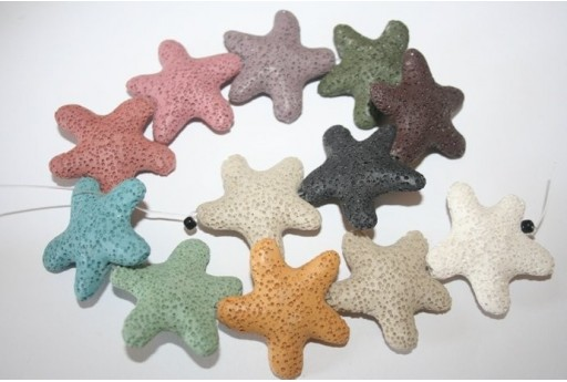 Lava Rock Beads Multicolor Star 42x40mm - 12pz