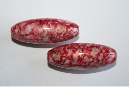 Acrylic Beads Red Gold Stretched Oval 31x12mm - 8Pz