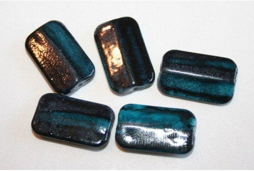 Acrylic Beads Blue Turquoise Rectangle 19x12mm - 20pz