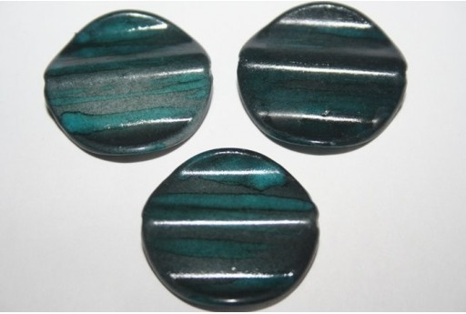Acrylic Beads Blue Turquoise Pastille 25mm - 10pz