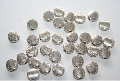 Tibetan Silver Flat Round Spacer Beads 7mm - 16pcs