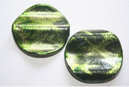 Acrylic Beads Green Corrugated Pastille 35mm - 6Pz